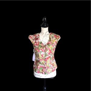 Loft blouse sleeve size 2p red yellow